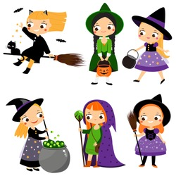 Cute witch set. Cartoon girls in wizard fairy costumes. Halloween characters. Vector illustration