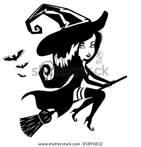 Cute Witch Silhouette An adorable witch in black and white. EPS 8 vector, grouped for easy editing.