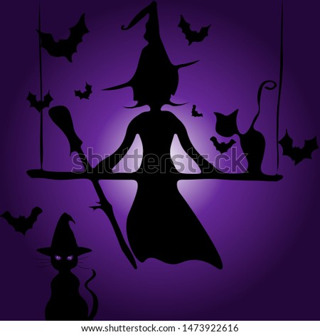 Wall Decor Galore Cute Witch Silhouette Vector Illustration Purple Background