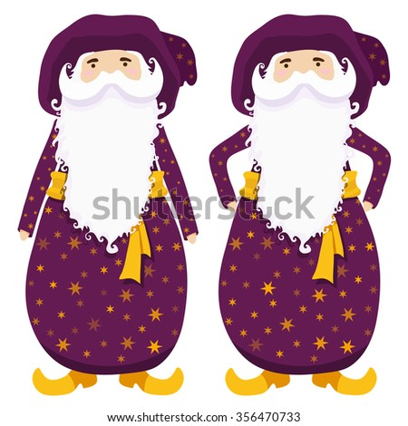 cute wizards in robe with stars