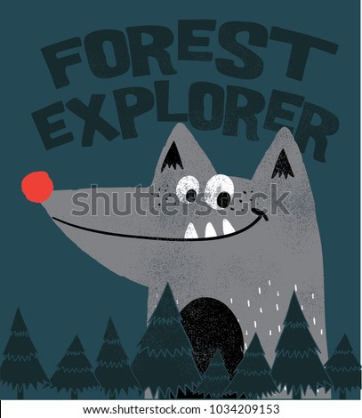 cute wolf illustration for kids