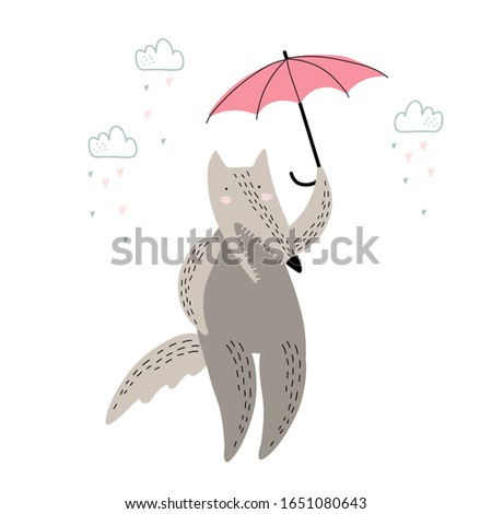cute wolf with umbrella under