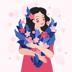 Cute woman holding a bouquet of flowers in her hands. Spring holiday vector illustration in Scandinavian simple style. Hand drawn cartoon romantic girl in a bright pink dress. International women day
