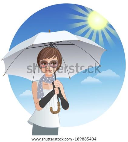 cute woman holding sunshade