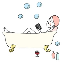 Cute woman relaxing in bathtub and reading novel from tablet happily.