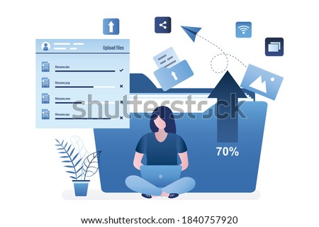 Cute woman uploads content to social networks. Female character sits with laptop, big folder on background. Cloud service, adding digital documents and loading concept. Trendy flat vector illustration
