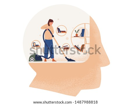 Cute woman with vacuum cleaner cleaning room inside giant head. Concept of cleansing and purification of inner space, thought cleansing, self care, mental health. Flat cartoon vector illustration.