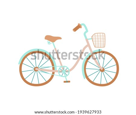 Cute women s bike with a low frame and basket in front. Vintage bicycle. Vector illustration in hand drawn style. Сток-фото ©