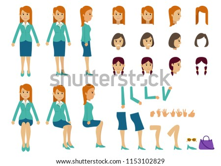 Cute women with many poses. Various head, various hairstyles, and various leg