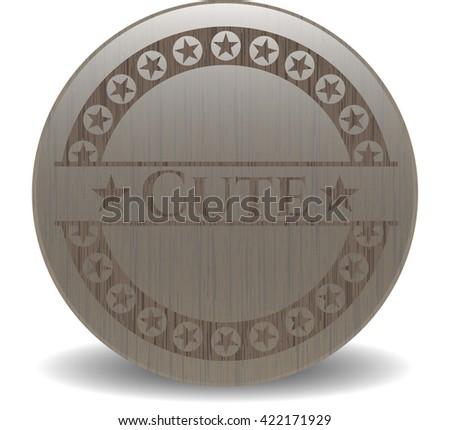 Cute wooden emblem. Retro