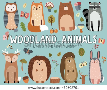 Shutterstock Cute Woodland Animals and Forest Design Elements Vector