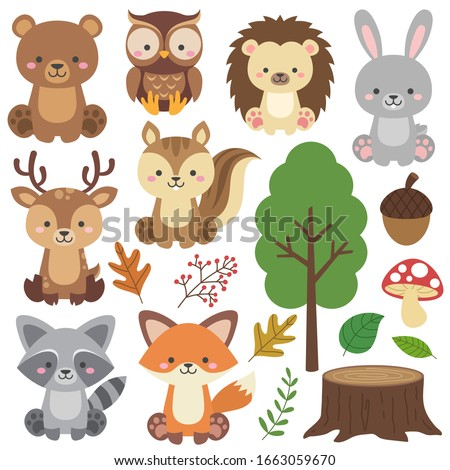 Cute Woodland Animals Set and Forest Elements. Colorful adorable vector illustration in flat style. Bear, raccoon, rabbit, fox, deer, owl, squirrel, acorn, tree stump, hedgehog, mushroom, berries.
