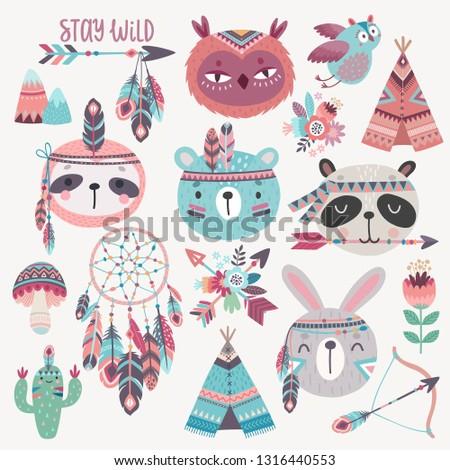 Cute Woodland boho tribal characters,  rabbit, owl, sloth, panda,bear. American indian set of Vector illustration.