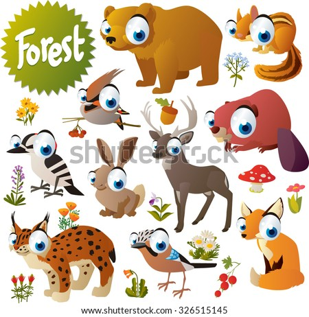 cute woodland forest animals
