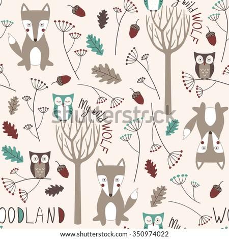 cute woodland seamless pattern