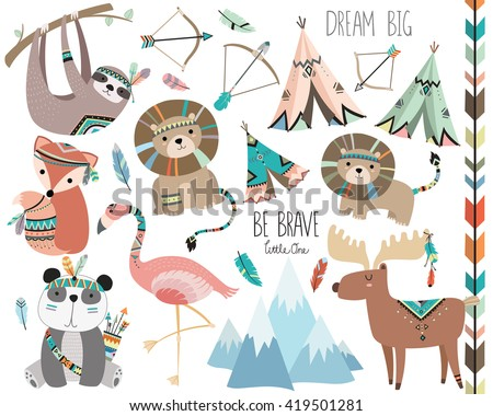 cute woodland tribal animals