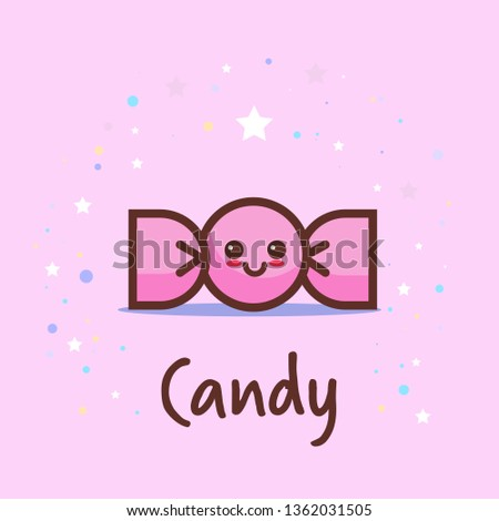 cute wrapped candy cartoon comic character with smiling face happy emoji kawaii style sweet freshly bon-bons dessert food concept