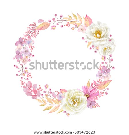 stock-vector-cute-wreath-with-leaves-white-roses-pyrethrum-and-inflorescence-hydrangea-vector-illustration-in
