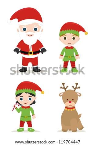 cute xmas set  santa  elves and