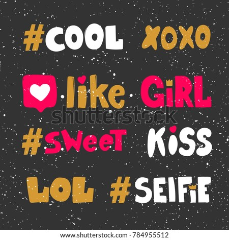 cute xoxo like girl sweet kiss lol selfie hand drawn hashtags stickers for social media content web banners or web site