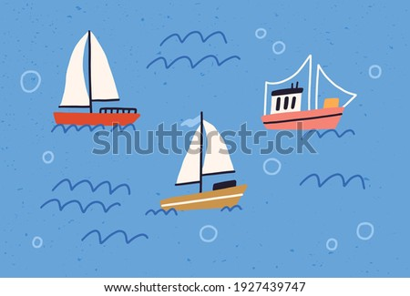 Cute yachts, boats and ships with sails floating in sea or ocean. Baby sailboats in water. Colored flat textured vector illustration of little marine vessels Foto stock ©