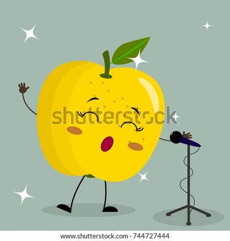 Cute yellow apple Smiley in a cartoon style sings into the microphone. Flat design, vector illustration.