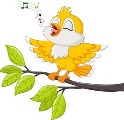 Cute yellow bird singing