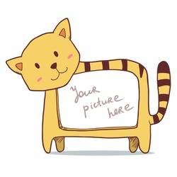 Cute yellow cat photo frame with space for your picture. Vector cartoon illustration