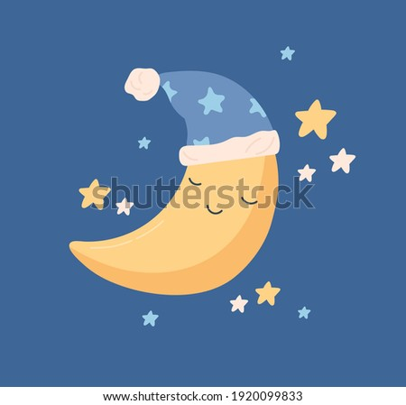 Cute yellow half moon sleeping in hat with pompom at night sky with stars. Sweet baby crescent character in nightcap. Childish colored vector illustration in flat cartoon style