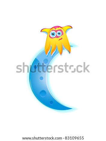 cute yellow monster sitting on the cyan moon crescent. Vector illustration isolated on white background.