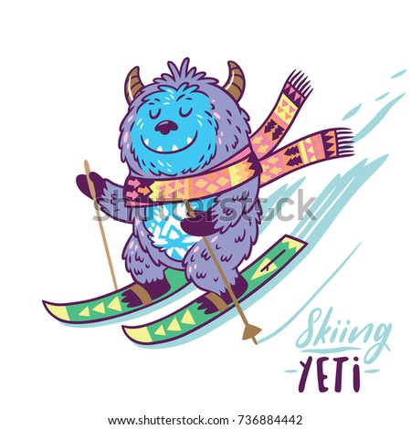 cute yeti skiing print vector