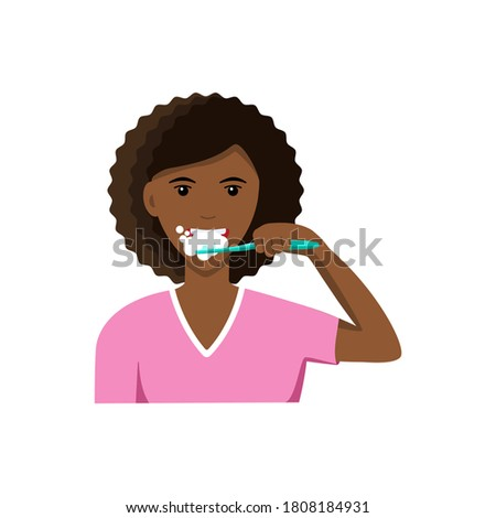 Cute young afroamerican woman brushing her teeth. Oral hygiene and dental procedures concept. Vector illustration in a flat style isolated on a white background. Stock photo ©