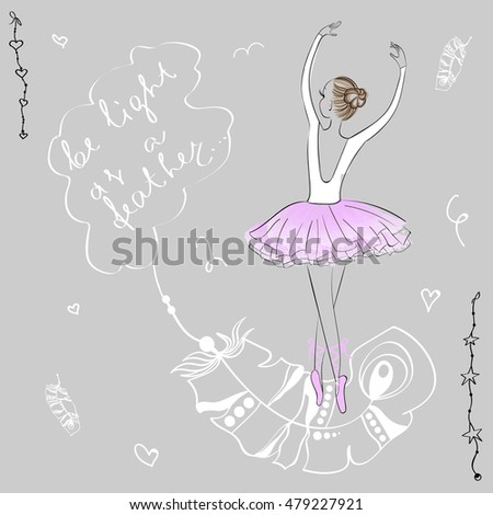 cute young ballerina dancing on