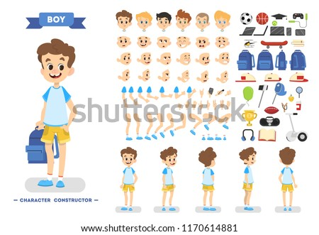 Cute young male boy character set for animation with various views, hairstyles, emotions, poses and gestures. School equipment set. Isolated vector illustration