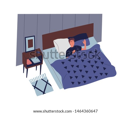Cute young man sleeping in bedroom at night. Male character lying in comfortable bed and falling asleep. Rest and relaxation in everyday life. Colorful vector illustration in flat cartoon style.