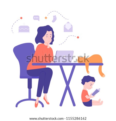 Cute young mom freelancer works at home at the computer. Thinks of work and home affairs. Under the table, a child reads a book. On the table lies a cute cat. Illustration isolated on white background