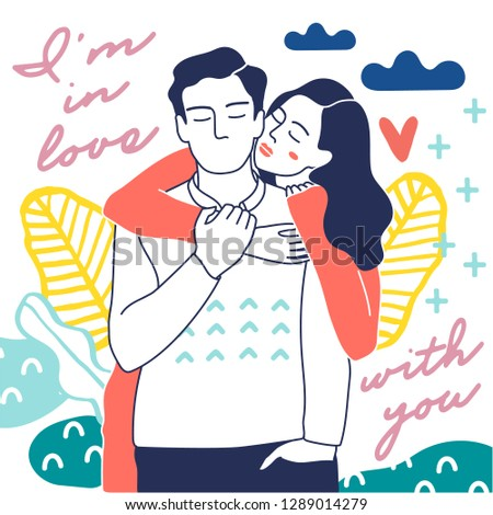Cute young romantic couple in love. Love, love story, relationship. Vector design concept for Valentines Day and other users. Hand drawn illustration for 14 February greeting card.