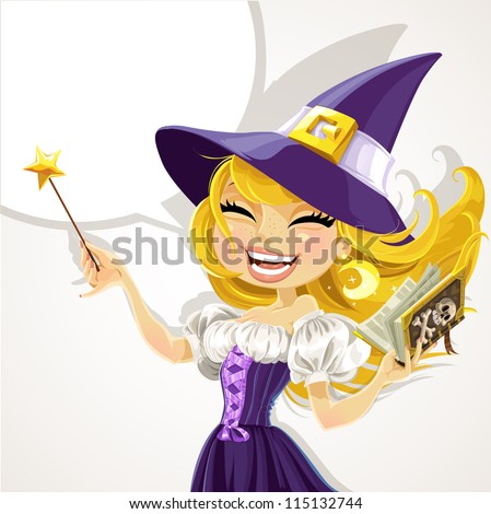 Cute young witch with magic wand and book
