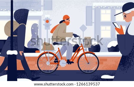 Cute young woman dressed in outerwear riding bicycle in winter. Girl cycling along snowy city street in cold weather. Seasonal outdoor activity. Colorful vector illustration in flat cartoon style.