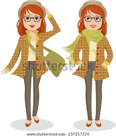 cute young woman dressed warmly