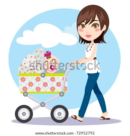 Cute young woman pushing baby carriage while her little girl tries to reach her
