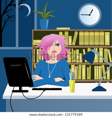 Cute young woman sitting at her desk in the office late at night and looking at the clock