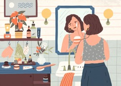 Cute young woman standing in front of mirror and cleansing or moisturizing her skin. Everyday personal care, skincare daily routine, hygienic procedure. Flat cartoon colorful vector illustration.