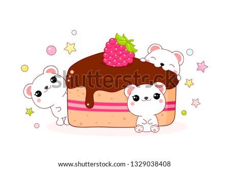 cute yummy card in kawaii style