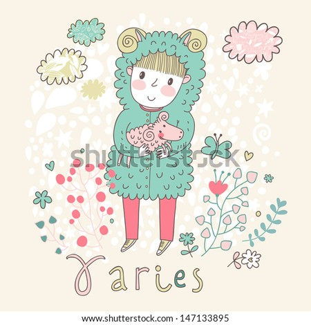 Cute zodiac sign - Aries. Vector illustration. Little boy riding with small ram. Background with flowers and clouds. Doodle hand-drawn style