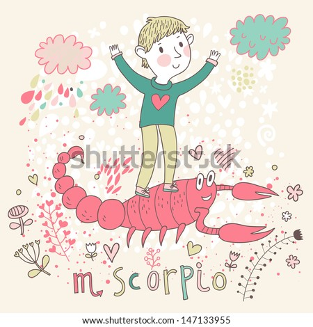 Cute zodiac sign - Scorpio. Vector illustration. Little boy playing with big pink scorpion. Background with flowers and clouds. Doodle hand-drawn style