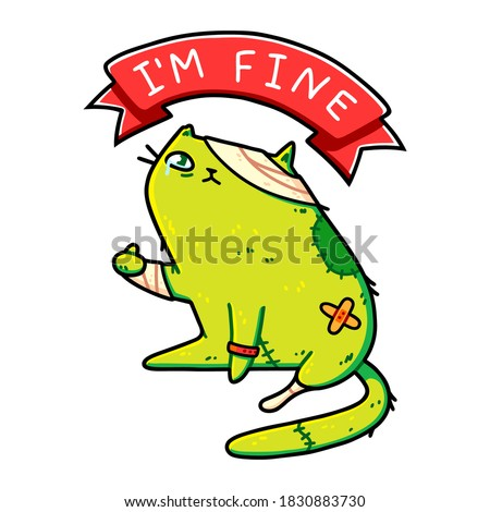 Cute zombie cat showing thumbs up, ribbon with I'm Fine typography. Kawaii funny cartoon kitten in bandages, creepy Halloween art. Sticker, t-shirt, poster, card design. Isolated on white background. Stock fotó ©