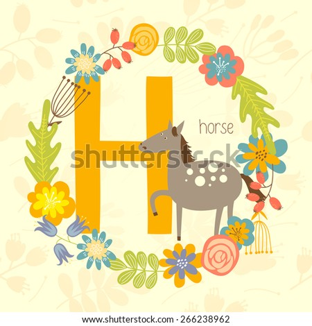 cute zoo alphabet  horse with