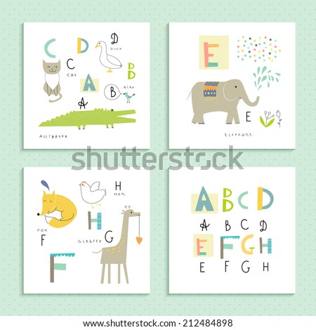 cute zoo alphabet in vector  a