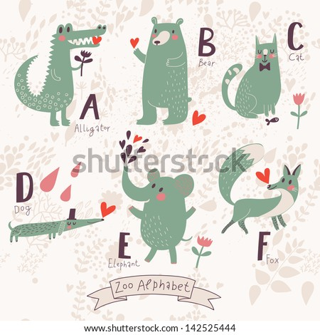V Alphabet Images With Love cute-zoo-alphabet-in-vector-a-b-c-d-e-f-letters-funny-animals-in-love ...